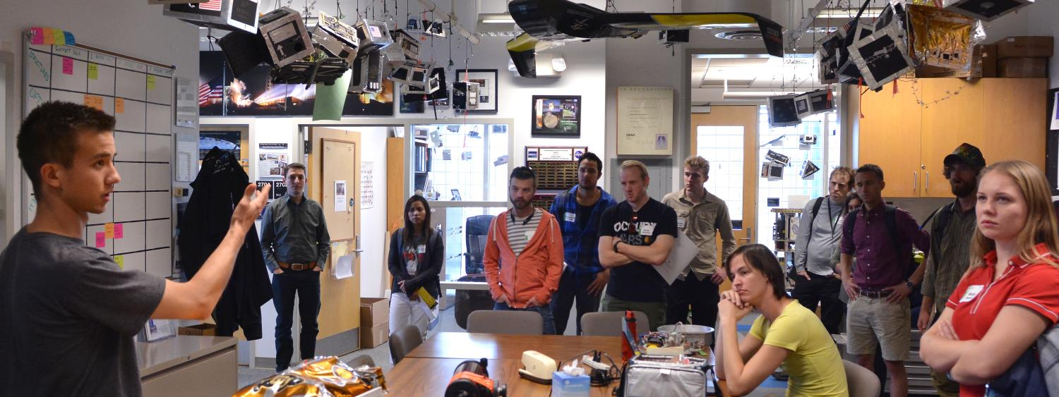 CU Transfer students on a tour Oct. 28, 2016, of the Colorado Space Grant Consortium, located in the Discovery Learning Center.