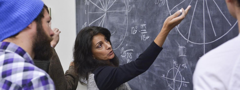 Professor teaching a math class