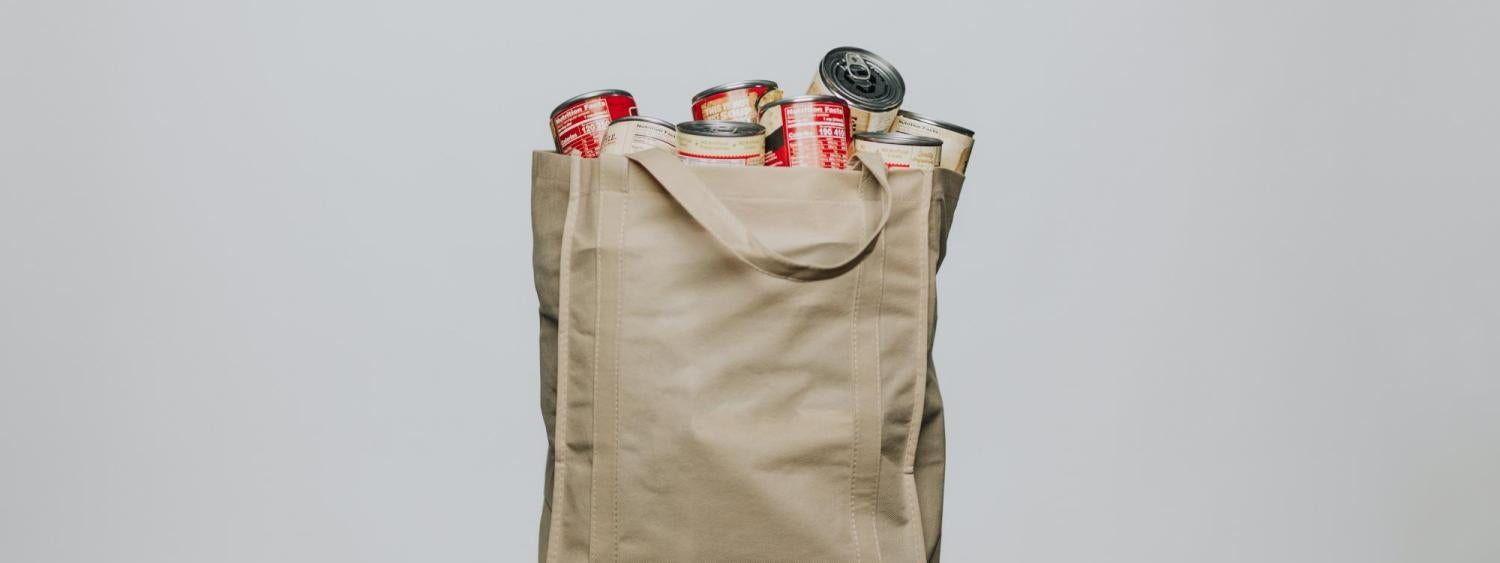 canvas bag filled with canned food