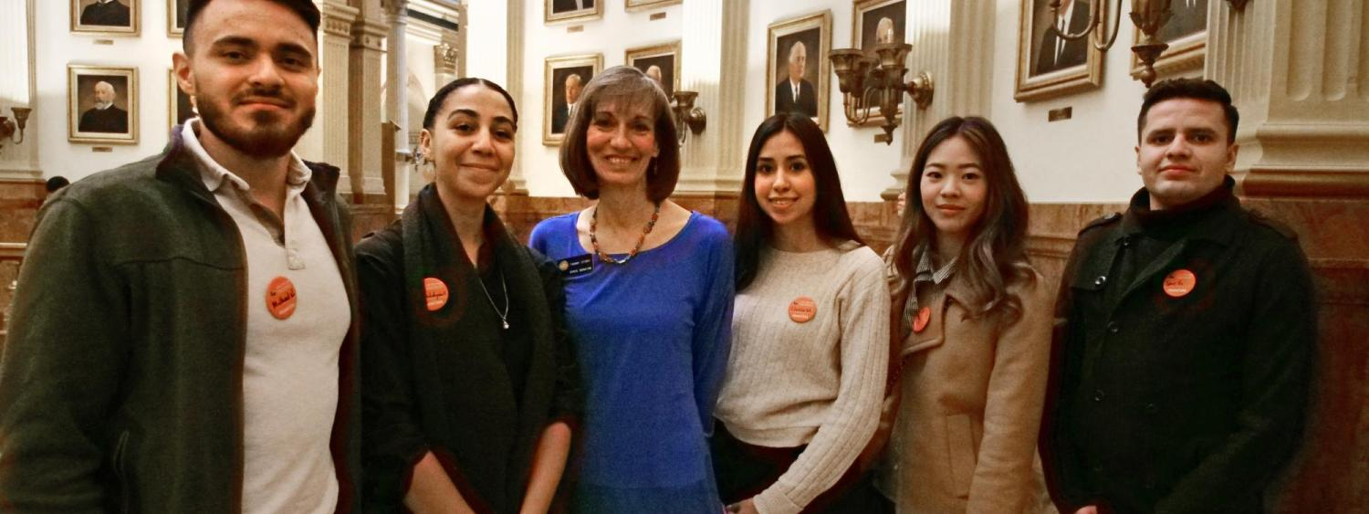 Left to right, CU Boulder students Michael Nothem, Gwendalynn Roebke, Lluvia Macias, Janet Lee and José Gutierrez with State Senator Tammy Story