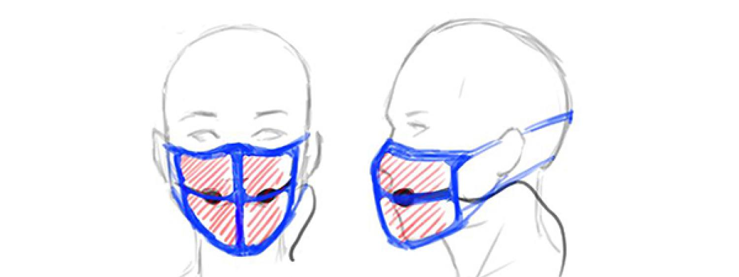 A mask/microphone solution for instructors designed by initiative participants Daedalus Muse for instructors at CU Boulder.