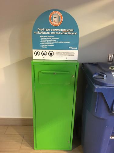 Prescription take-back box in the Police and Parking Services building