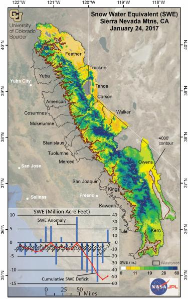 A map showing snow-water equivalent totals in California's Sierra Nevada range as of Jan. 24, 2017