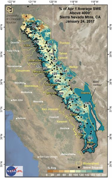A map showing snow-water totals in California's Sierra Nevada Range, expressed as a percentage of historical April 1 averages.