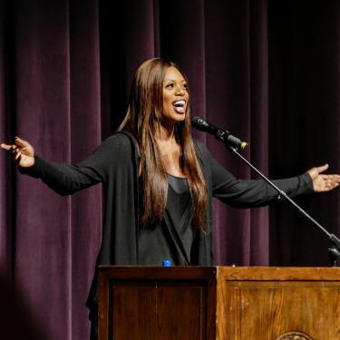Laverne Cox speaking on campus