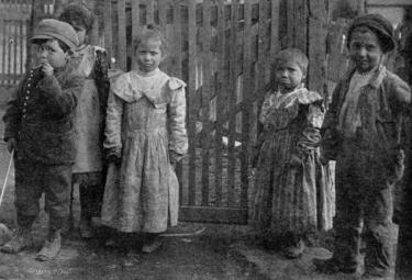Image of children from the Salt Creek neighborhood of Pueblo around 1906, the area where many Latino workers lived. (Photo courtesy of Steelworks Center of the West, Pueblo. Originally in Camp and Plant, CF&I paper, Vol. 4, No. 11.)