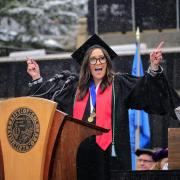 Savannah Sellers delivers commencement address in snow