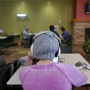 Student studies on laptop at UMC