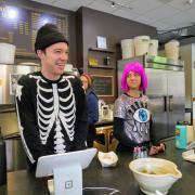 Chase Robertson, left, and Larissa Alvarado, Laughing Goat employees.