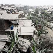 Ash covers rooftops in the Indonesian city of Yogyakarta.