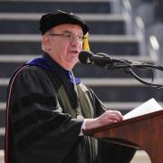 Chancellor Philip P. DiStefano gives a speech at the spring 2018 commencement ceremony.