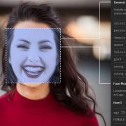 A woman seen through facial recognition software