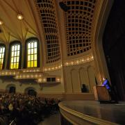 Alice Rivlin speaks at Macky Auditorium during the 2012 Conference on World Affairs