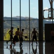 People playing basketball at the Recreation Center