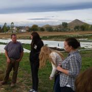 Students in Peter Newton's class visit a local farm to learn about sustainability
