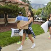 Student working during move-in