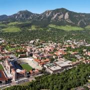 Aerial view of CU Boulder Main Campus and Flatirons