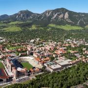 Main campus is seen from above with the Flatirons in the background.