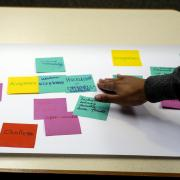 Participants work with sticky notes during a Diversity and Inclusion Summit session