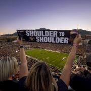 Folsom Field if filled with fans during the homecoming game in 2016.