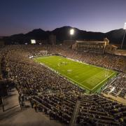 Folsom Field lit up for Homecoming football game