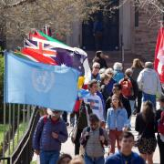 Flags outside the Conference on World Affairs