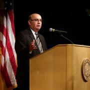 Chancellor Philip DiStefano speaks at the fall state of the campus address
