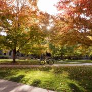 A scenic fall image on the CU Boulder campus.