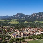 aerial view of CU Boulder campus