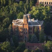 An aerial view of Old Main