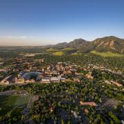 Aerial view of the CU Boulder campus and Boulder area