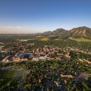 The CU Boulder campus seen from an aerial vantage point
