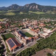 Aerial view of Folsom Field and other Athletics facilities