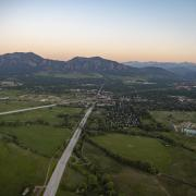Aerial view of city of Boulder and CU campus