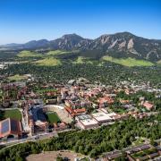 CU Boulder campus aerial shot