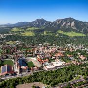 Aerial view of CU Boulder campus