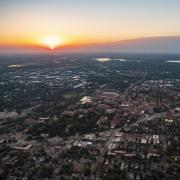 Sunrise and aerial view of Boulder