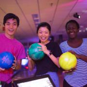 Students bowling in the UMC Connection