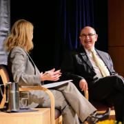 Leeds School of Business Dean Sharon Matusik moderates a question and answer session from the CU Boulder community with Chancellor Phil DiStefano following his 2018 State of Campus speech at the UMC Glenn Miller Ballroom. (Photo by Glenn Asakawa/University of Colorado)