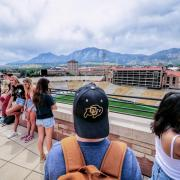 Students look over Folsom Field during Fall Welcome 2019