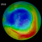 This NASA visualization depicts ozone concentrations from Sept. 8, 2019 in Dobson Units, the standard measure for stratospheric ozone
