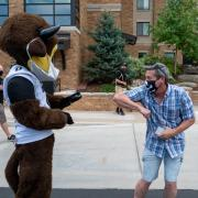 Chip the mascot paid a visit to students, families and volunteers who were helping with move-in in Williams Village.