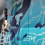 Artist Kendall Rose Kippley paints a mural in Boulder showing Arctic sea ice loss over time, based on NSIDC data. (Photo by Seamus McAfee, NSIDC)