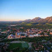 aerial view of CU Boulder
