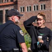 Students meet with CUPD officers during the semester's first Coffee with a Cop event. (Photo by Patrick Campbell/University of Colorado)