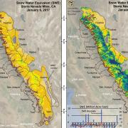 a map showing recent snow totals in California's Sierra Nevada range