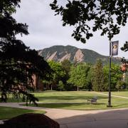 Scenic photo of campus and the Flatirons