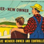 A historic photo promoting farming and electric co-ops