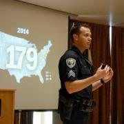 CU Boulder Police Sgt. John Zizz teaches an Active Harmer Class at the UMC Feb. 8, 2017