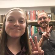 A selfie with librarian Adam Lisbon and a Department of Asian Languages and Civilizations student